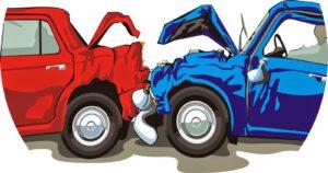 Dessin accident de voitures, choc arrière et avant