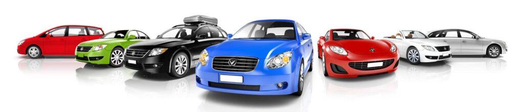 Slide de voitures en location 5 voitures cote à cote sur fond blanc